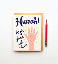 Huzzah high five it