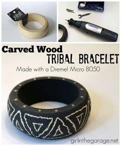 How to transform a plain wood bangle into a carved tribal bracelet with a Dremel.  girlinthegarage.net  #MyBrilliantIdea #CleverGirls