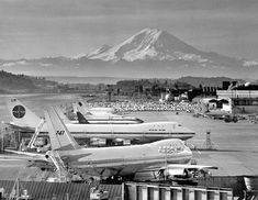 Early 1960s photo of Boeing Company with first-ever 737 and new Boeing 747s.