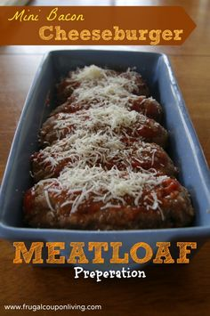 Frugal Coupon Living tasty Mini Bacon Cheeseburger Meatloaf Recipe. Easy Weekday Dinner you can make during the weekend. Freezer friendly. Pin to Pinterest.