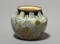 Martin Brothers Pottery - Robert Wallace Martin (1843-1923) - Sea Life Vase. Incised, Painted & Glazed Stoneware. Southall, Middlesex, England. Circa 1902. 9.9cm x 11.8cm.
