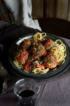 spaghetti and meatballs with rich tomato sauce