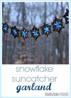 snowflake salt dough suncatcher garland