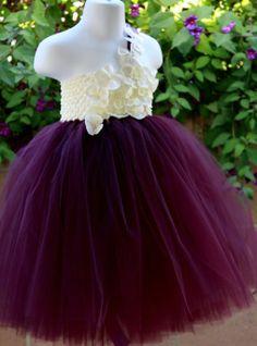 #GB Dark Lavender Ivory Flower Girls Tutu Dress by PoshBabyStore.com