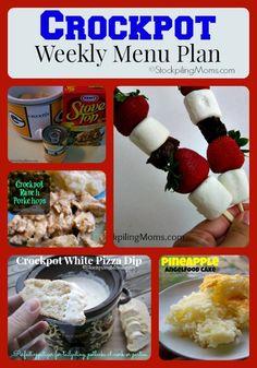 Crockpot Weekly Menu Plan #menu #slowcooker #recipes