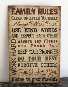 """Primitive wood sign 12"""" x 18"""" TAN FAMILY RULES Rustic Country Home Decor gift"""