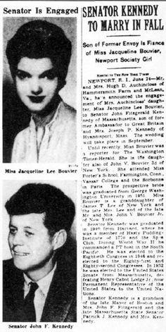 ♥ Senator John F. Kennedy and Miss Jacqueline Lee Bouvier engaged ♥