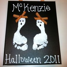 Super cute fall craft for kids! (ghosts with Bowties for the little man!)