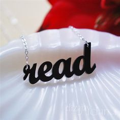 read acrylic necklace by ElizajayCharm on Etsy, $12.95