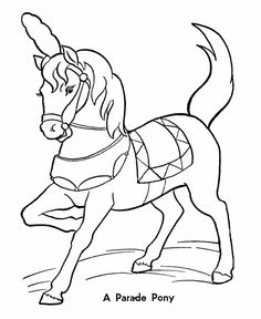 Circus Parade Pony Coloring Pages | Printable performing Circus Horses coloring page and kids activity sheet | HonkingDonkey