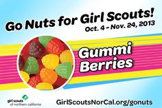 Gummi Berries - Girl Scouts NorCal's Fall Nut & Magazine Sale is Oct. 4-Nov. 24, 2013! Help girls raise funds for fall activities and service projects! http://www.girlscoutsnorcal.org/gonuts