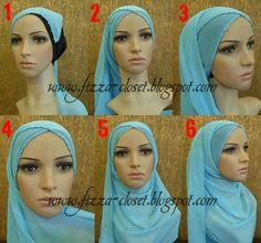 Simple criss-crossing hijab scarf style... picture tutorial. hijab scarf, hijabs, scarf styles, crisscross, hijab tutorial, holiday quot, hijab style, pictur tutori, hijabtutori