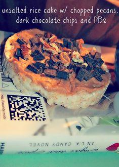 unsalted rice cake, natural pb, chopped pecans, dark chocolate chunks = protein packed dessert :)