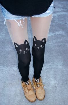Kitty Garter Tights by FlowerSourDiesel on Etsy, $26.00