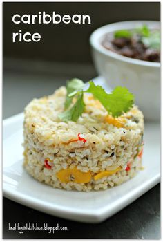 So pretty (and looks really yummy!): Caribbean Rice from Healthy Girl's Kitchen, flecked with mango and red bell pepper (skip the coconut for Phase 1). Great with black beans!