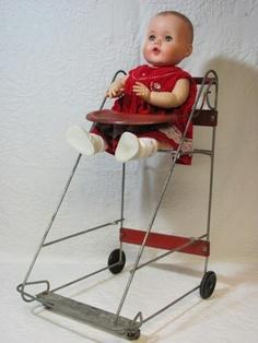 Vintage Doll Stroller, High Chair, Shopping Cart - 1959