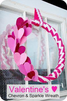 Chevron and Sparkle Valentine Wreath--Tatertots and Jello #DIY #valentines #wreath