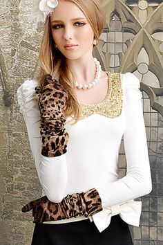 #Romwe Sequined Collar White Blouse