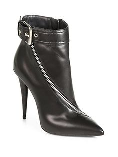 Giuseppe Zanotti - Asymmetrical-Zip Leather Ankle Boots - Saks.com
