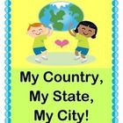 "WHERE DO YOU LIVE IN THE WORLD?  Where is YOUR home?  Play a GROUP GAME where ACTIVE learning teaches your kids about their country, their state, and their city!  Make a simple decorated AMERICAN FLAG CRAFT (template provided), or use your country's flag.  Learn an easy 6-note SONG with great rhythm and a little NOISE!  Have fun with a ""3-D Game"" where concentric circles tell the story!  End with STREET NAMES.  ""There's no place like home!""  (8 pages)  From Joyful Noises Express TpT!  $"