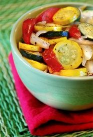 Squash and Tomato Salad: an easy side dish recipe that's perfect for summer. Heart Healthy // Diabetes Recipe // Gluten Free. 30 calories