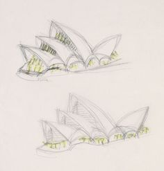 Jørn Utzon (b.1918)  Perspective sketches of Opera House with glazing highlit c.1960