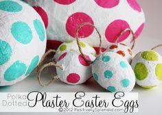 DIY Polka Dotted Plaster Easter Eggs