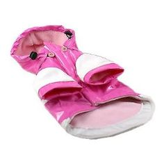 Pet Life Two-Tone PVC Raincoat in Pink & White - Small $21.83