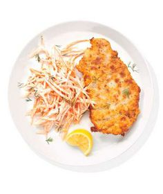 Chicken-Fried Steak With Carrot Slaw from realsimple.com #myplate #protein #vegetables