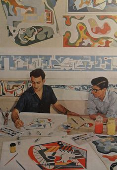 1950s Two Artists Painting Men Vintage Photo Graphics Modern Art Midcentury by Christian Montone, via Flickr..