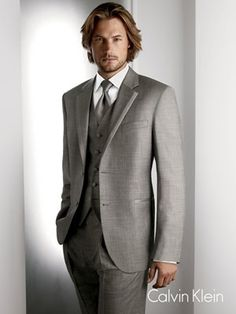 Grey three piece suit always looks good on a man!
