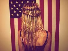 wavy hair, long hair, 4th of july, hairstyl, waterfall braids