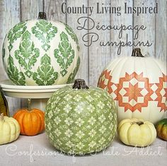 CONFESSIONS OF A PLATE ADDICT: Fun Fall Projects...Découpage Pumpkins inspired by Country Living. #Halloween #fall #DIY
