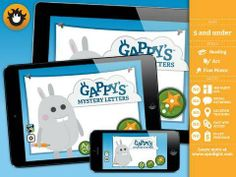 Gappy's Mystery Letters - great app for alphabet/tracing practice plus a set of alphabet coloring pages. Original Appysmarts score: 89/100