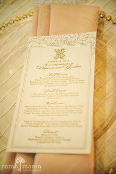 Crocker Art Museum Wedding Photos - letterpress menus with gold - Sarah Maren Photographers
