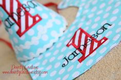 Boys First Birthday Hat - Darling aqua and large white dots with red and white stripes - Free personalization