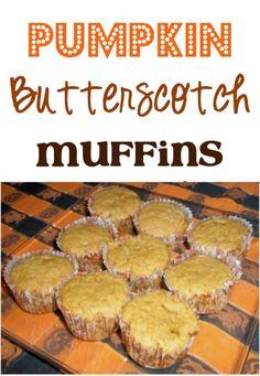 Pumpkin Butterscotch Muffins Recipe! ~ The perfect muffin for a Fall breakfast or dessert! #recipes #muffins