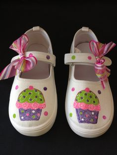 Hand Painted Cupcake/icecream Shoes ON SALE by MonkeymouDesigns, $12.00