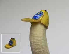 How to: Make a Banana Peel Hat (for a Banana) hats, idea, trucker hat, banana hat, brock davi, funni, food, bananas, banana peel