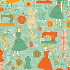 Sew Retro fabric by jennartdesigns on Spoonflower - custom fabric