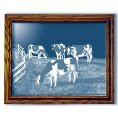 Amazing Grazing Cows Country Art Rectangular