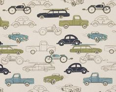 Premier Prints Retro Rides Felix Natural Fabric 1 Full Yard from The Fabric Dock