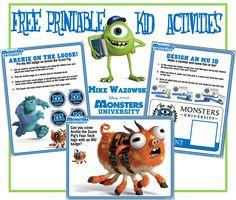 FREE: Printable Monsters University Activities