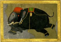 Gouache painting on paper. An elephant run amok. Rajasthan School, India, c.1800