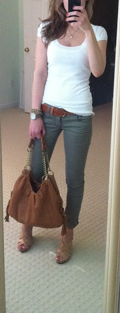 cloth, white shirts, brown bags, olive skinny jeans, belt, casual looks, shoe, green pants, spring outfits