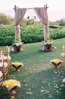 wedding planning, wedding altars, arbor, wedding arches, bohemian weddings, burlap curtains, curtain styles, outdoor weddings, camping wedding