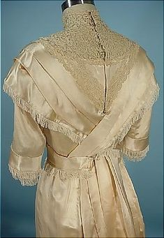 c. 1910 FOLLER Gowns, Baltimore Ecru Silk Satin Trained Wedding Gown With Silk Fringe
