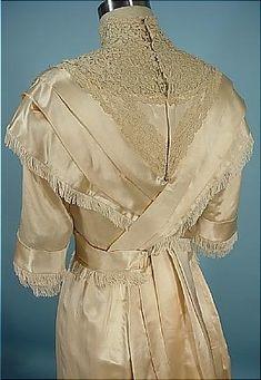 c. 1910 FOLLER Gowns, Baltimore Ecru Silk Satin Trained Wedding Gown With Silk Fringe