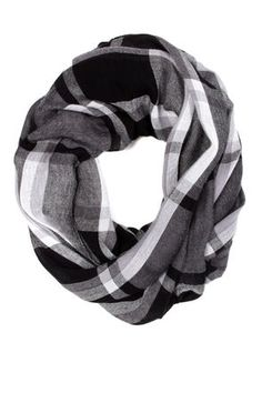 Plaid About You Grey Plaid Infinity Scarf