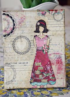 She was Full of Love mixed media piece